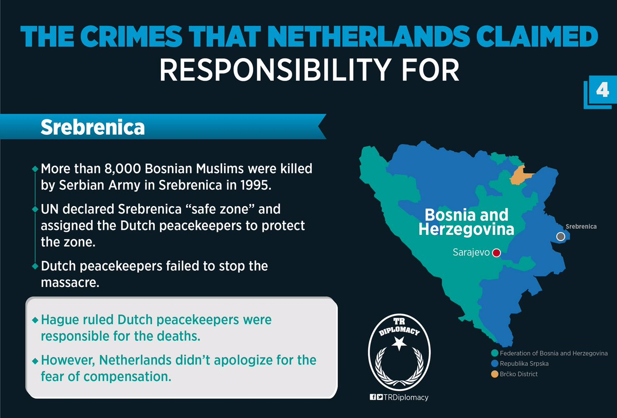 The crimes that Netherlands claimed responsibility for