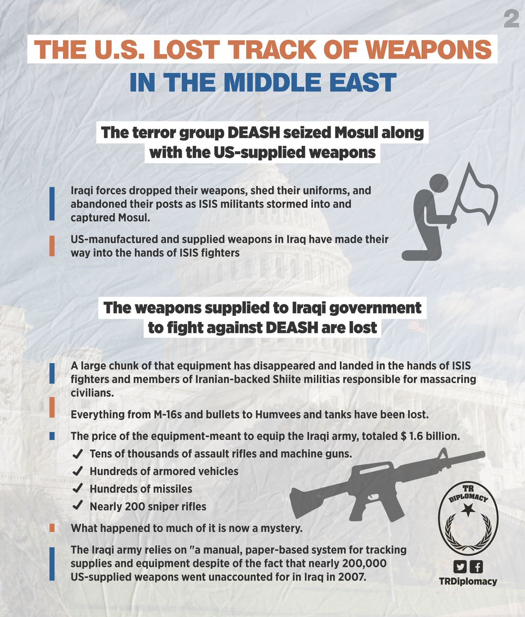 The missing weapons of Pentagon were seized by DEASH and PKK