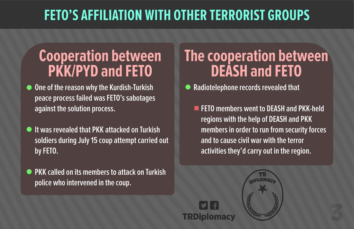 The incidents carried out, exploited or manipulated by Gulenist Terror Group and its affiliation with PKK and DEASH