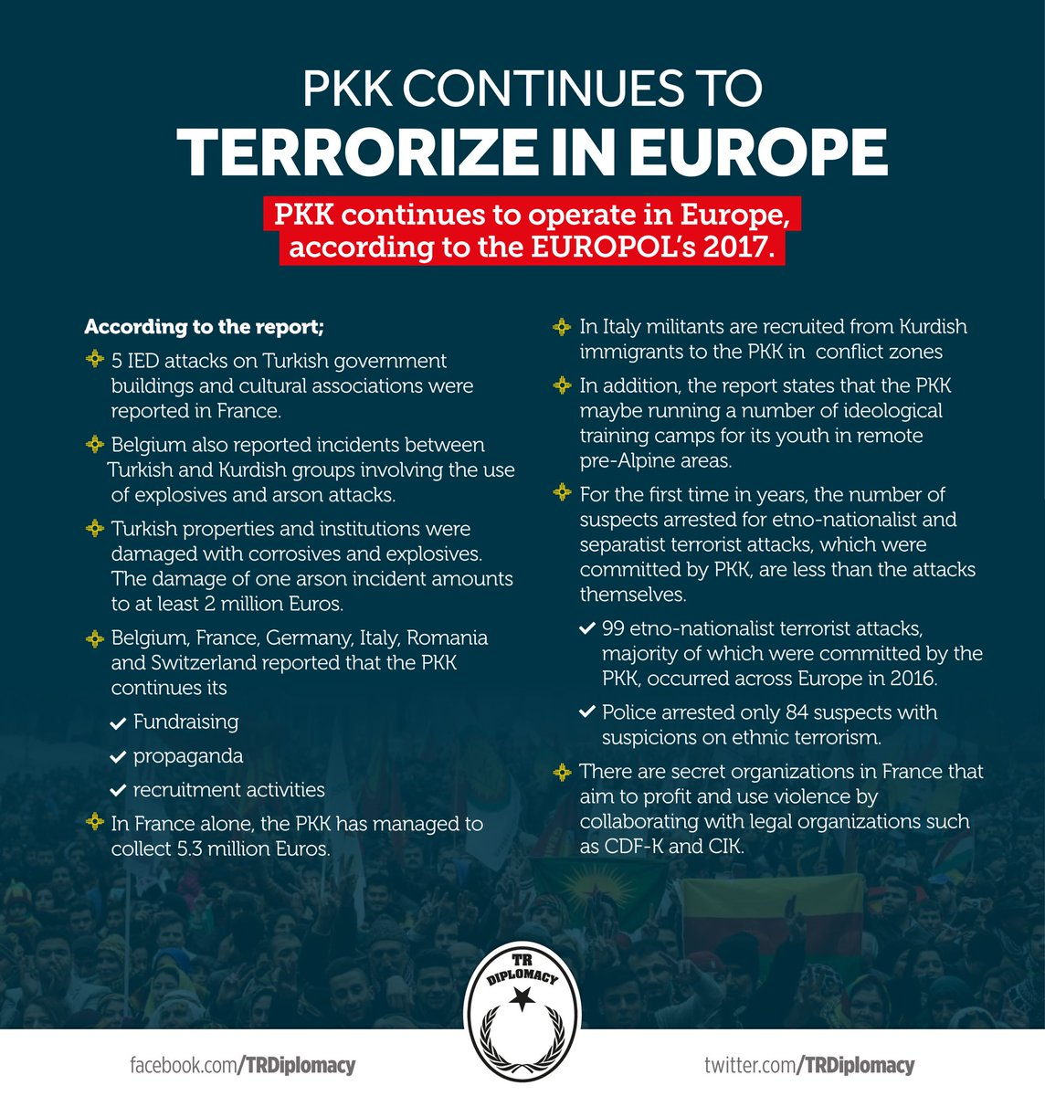 The actions of the terror organization PKK in Europe according to Europol 2017 report